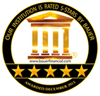 Our institution is rated 5-stars by Bauer Financial
